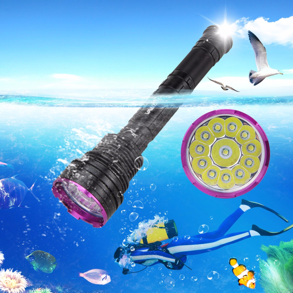 Real 6000 LM 12X XM-L T6 LED Diving Flashlight Waterproof Hunting Torch Lantern With 3x 26650 Battery Pack+Charger