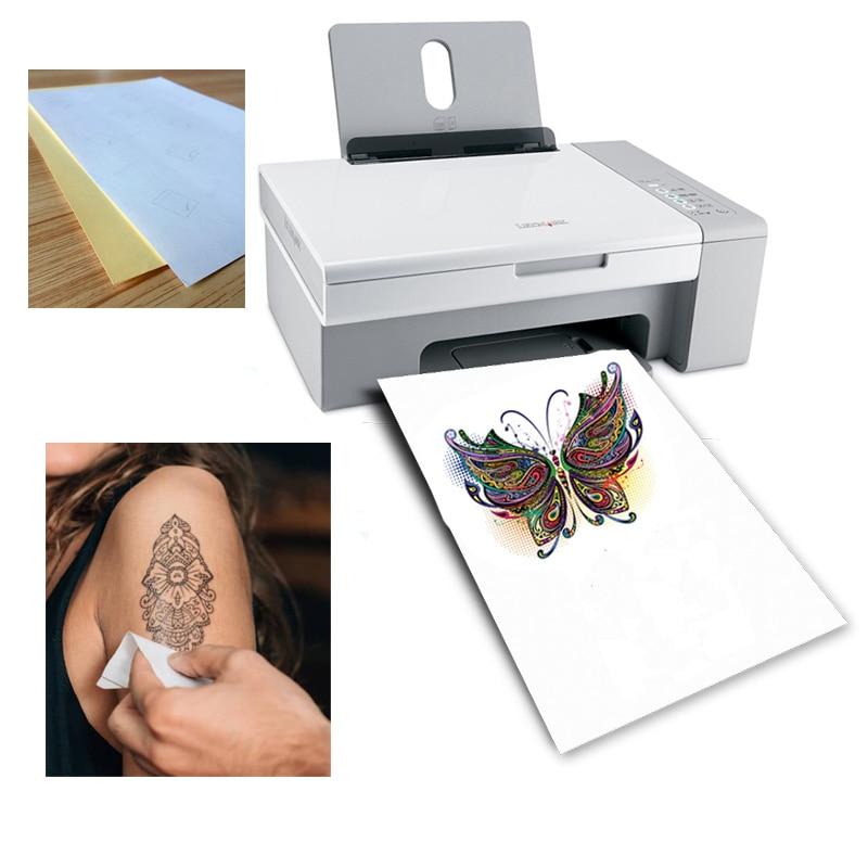A4 Art Tattoos Paper DIY Waterproof Temporary Tattoo Skin Paper With Inkjet Or Laser Printing Printers For Tatoo Men Children