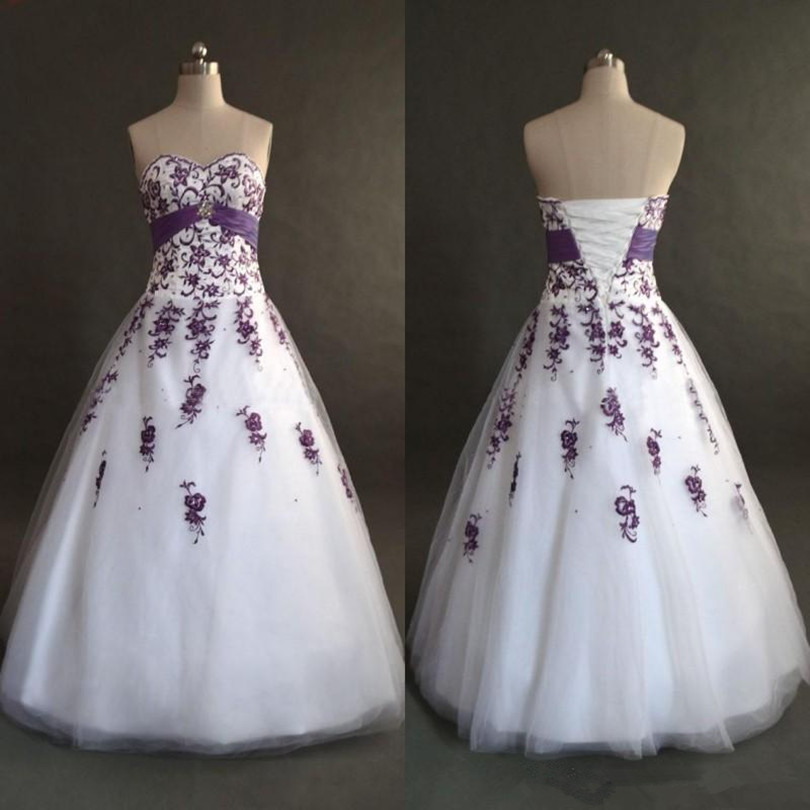 Real Photo White And Purple Wedding Dresses 2017 Classic