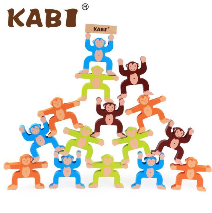 En bois Acrobaties Singe Solde Jeu L'effondrement Jouet Building Block Enfants jouet intelligent de Main-yeux Coordination Formation