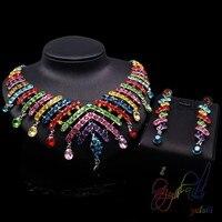 Kleurrijke party crystal sieraden set Mooie vrouwen crystal sieraden sets guangzhou sieraden fabriek