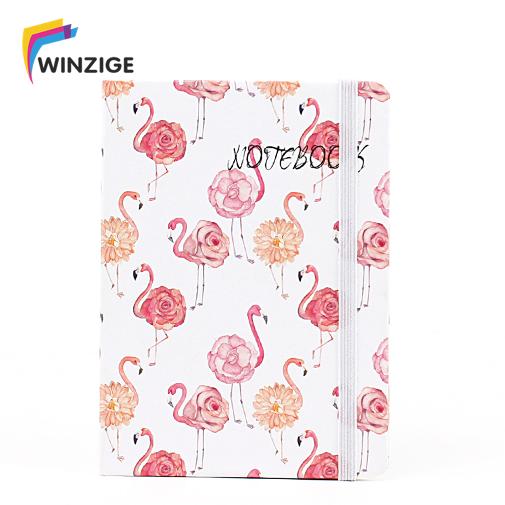 Cartoon Flamingo Hard Cover Planner Ruled Notebook Notepad Office