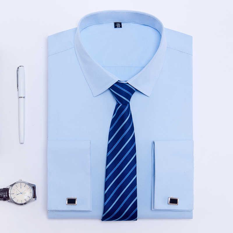 男性フレンチカフスシャツ無地社会タキシードシャツ仕事ビジネス非鉄フォーマルボタントップス白紳士パーティー