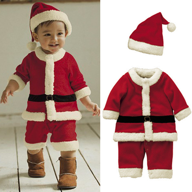 Santa Claus Baby Girls Coats Baby Rompers Santa Claus Clothes Baby Boy Clothes Sets Baby Toddle Romper Long Sleeve Hat Suit YL31