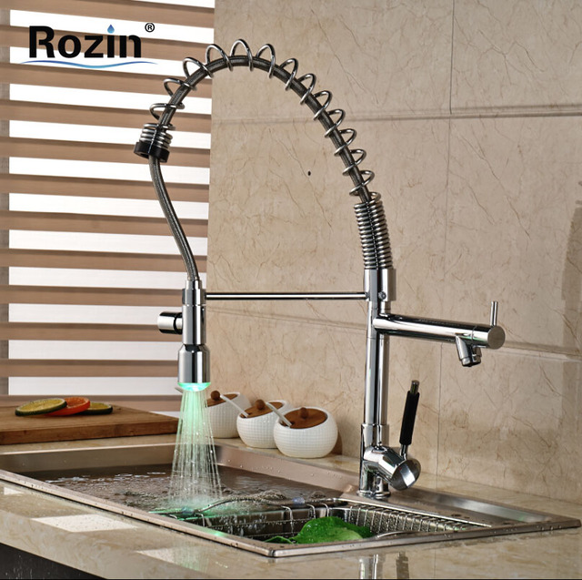 Luxury chrome Pre rinse Spring Pull Down Kitchen Sink Faucet Deck ...
