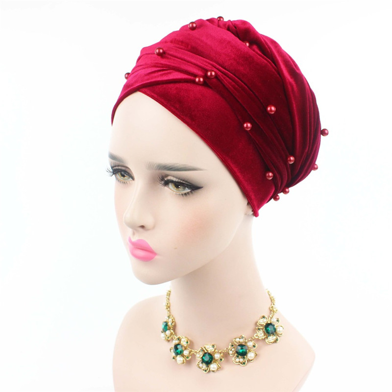 New luxury beaded pearled velvet turban long head scarf headwrap women muslim hijab Bandanas Hair Accessories 31
