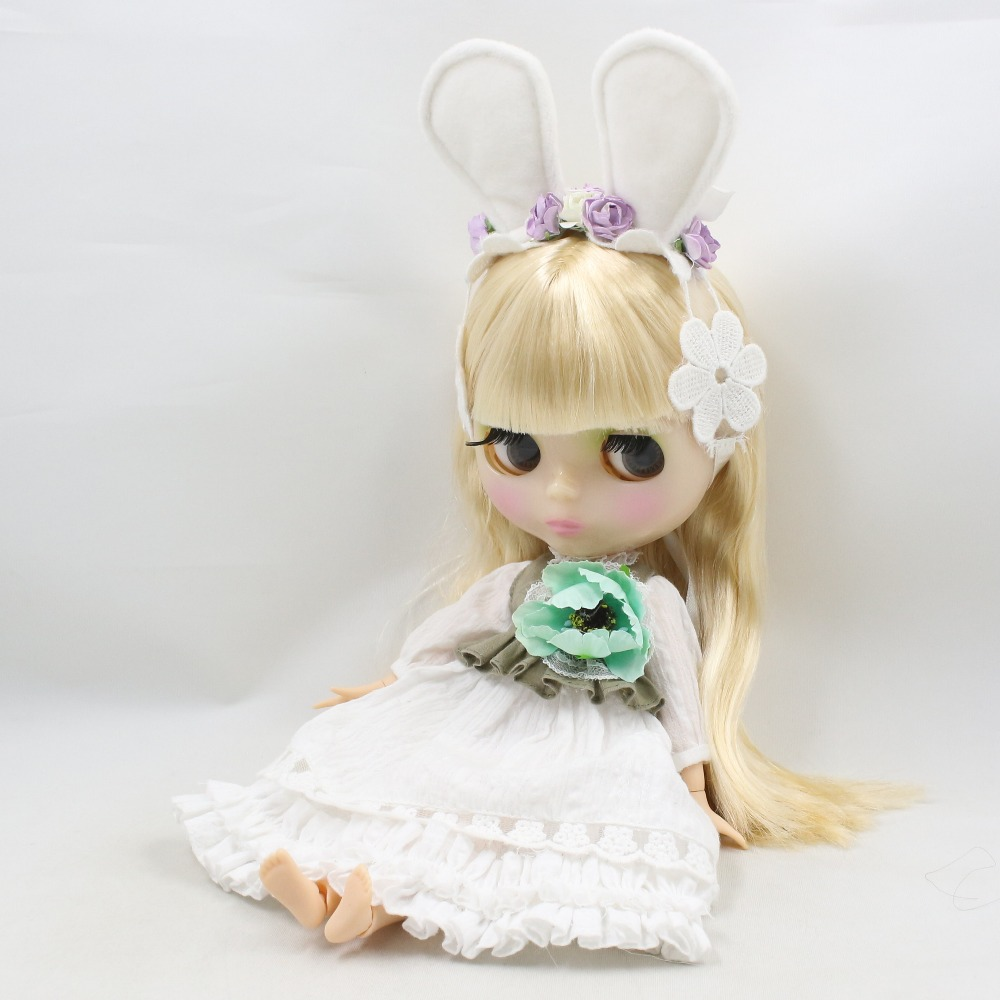 Neo Blythe Doll Floral Lace Dress with Bow, Ear & Headdress 4