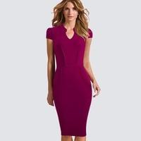 Casual Women Short Sleeve Work Office Business Bodycon Dress Summer Elegant Pockets Sheath Fitted Pencil Dress