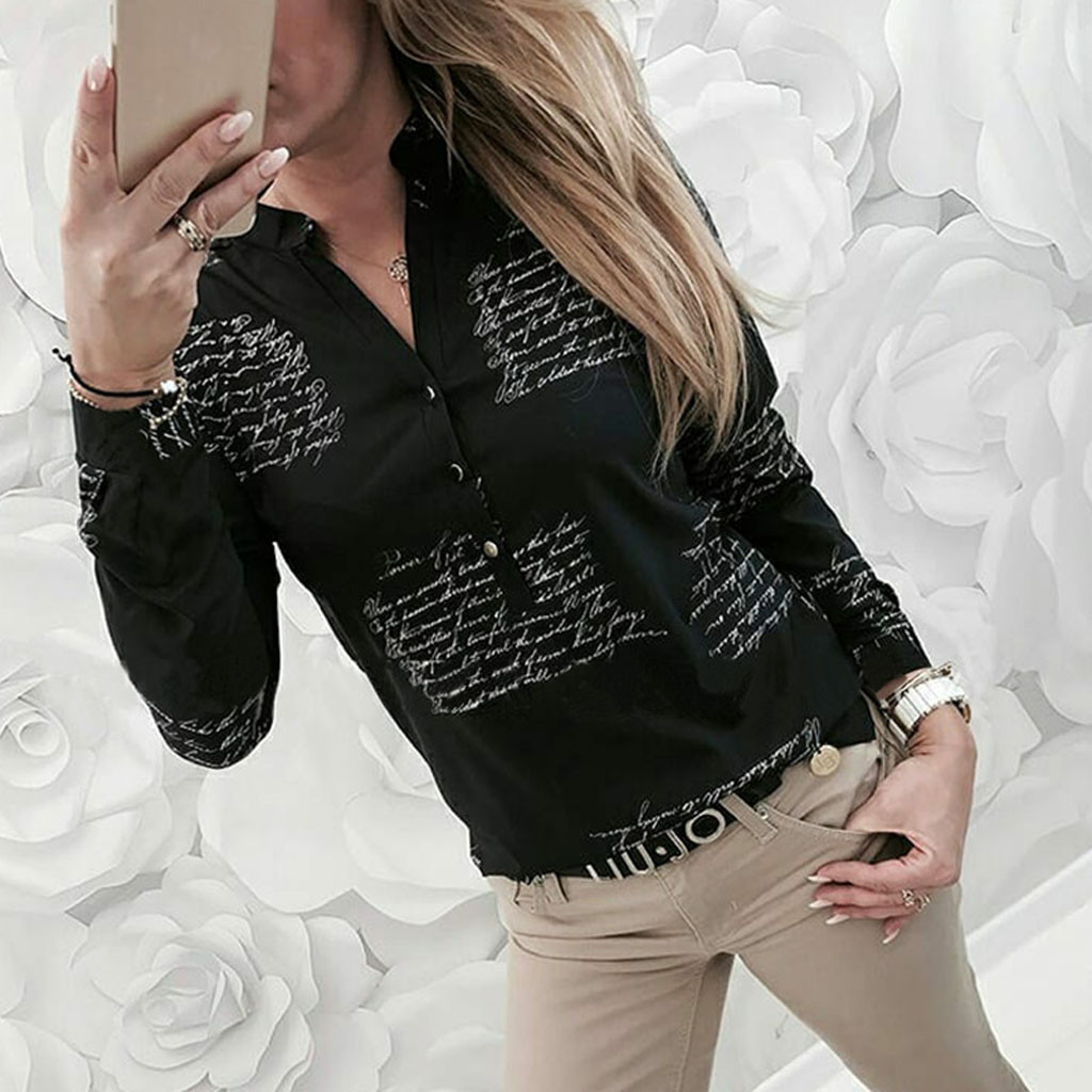 Women   Blouse     Shirt   V Neck Letters Printing Button Long Sleeve   Shirt   Tops   Blouse   OL Womens Clothing Plus Size Chemise Femme @40