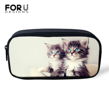 FORUDESIGNS Kawaii Cats Prints Cosmetic Bags Lady Make Up Travel Little Animal Pattern Girls Pen Children Pencil