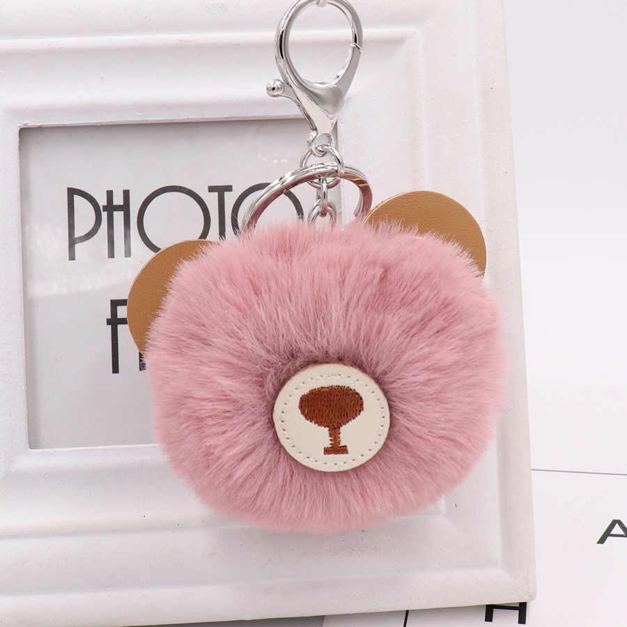 Bola de Cabelo de urso Pingente Anel Chave Bonito Saco Boneca de Pelúcia Pingente de celular Pequeno Presente Sleutelhanger Pom Pom Pompom Clef De Porte