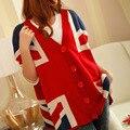 Primavera y otoño invierno 2016 nueva bandera Británica Union Jack de gran tamaño bat suéter cardigan largo mangas murciélago suéter de las señoras escudo