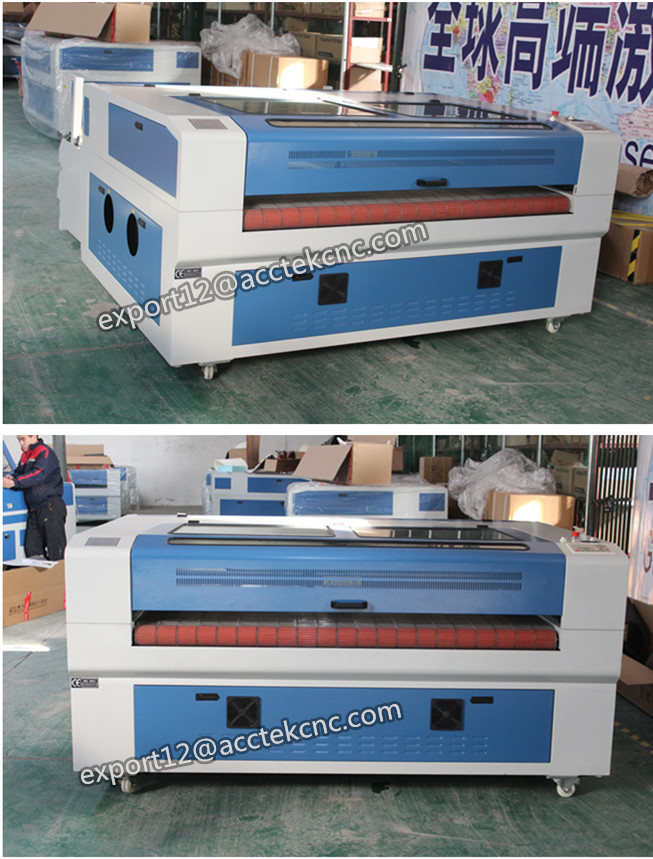 50w 60w 80w clothes co2 laser cutting machine/leather laser cutter with auto feeding system 1610