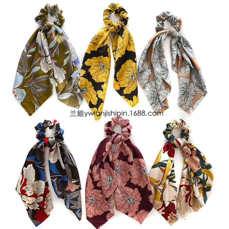 HTB1jQScXoY1gK0jSZFCq6AwqXXa0 - 2 in 1 vintage Floral Print Hair Band For Women Scrunchies Hair Scarf Horsetail Girls Hair Ties Headband Hair Jewelry