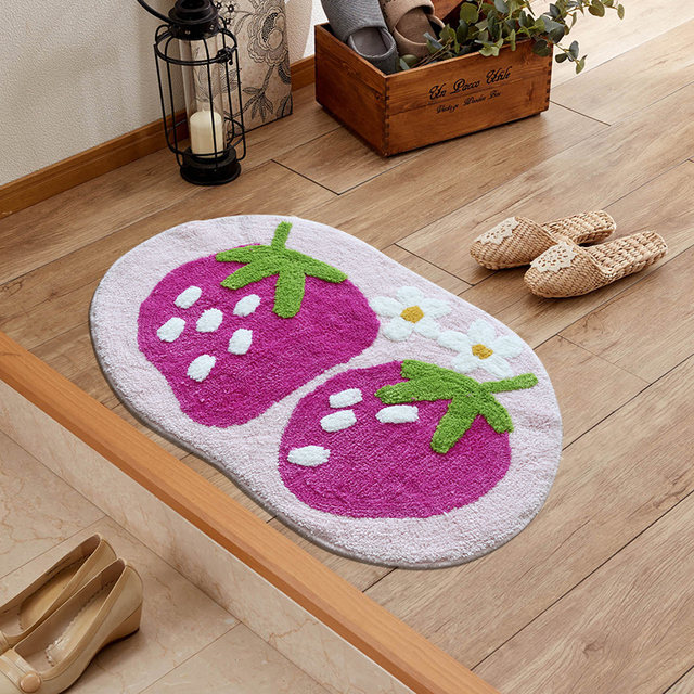 50cm*80cm cute strawberry fruit series Living Room Bedroom Rug ...