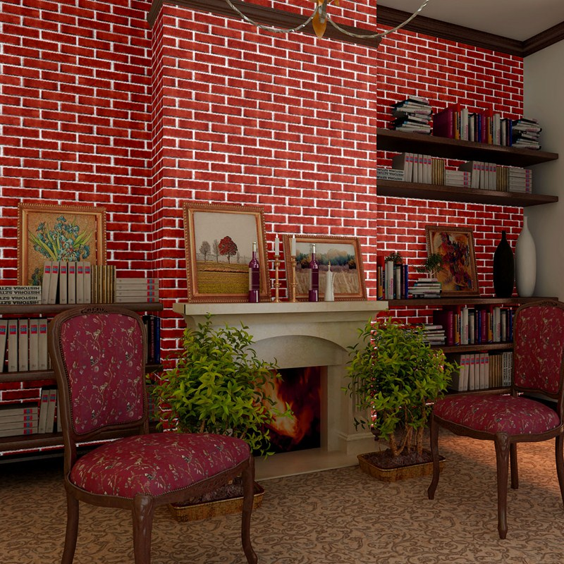 beibehang Chinese culture brick tiles white gray red brick wallpaper living room restaurant ...