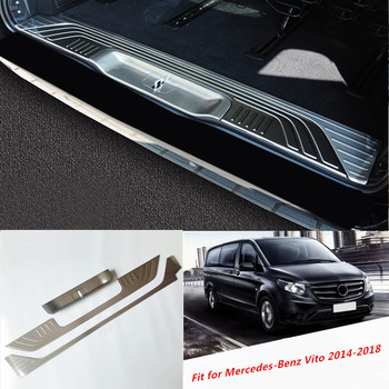 for Mercedes-Benz Vito (W447)  2014 2015 2016 2018  Silver Accessories Inner Back Rear Bumper Plate Cover Trims 3pcs
