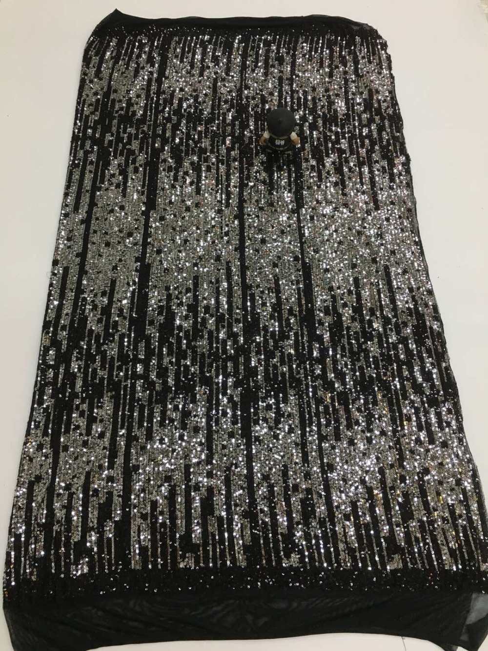 hot selling JIANXI C 2206 sequins Embroidered French Tulle Lace Fabric Nigerian Net Lace Fabric with