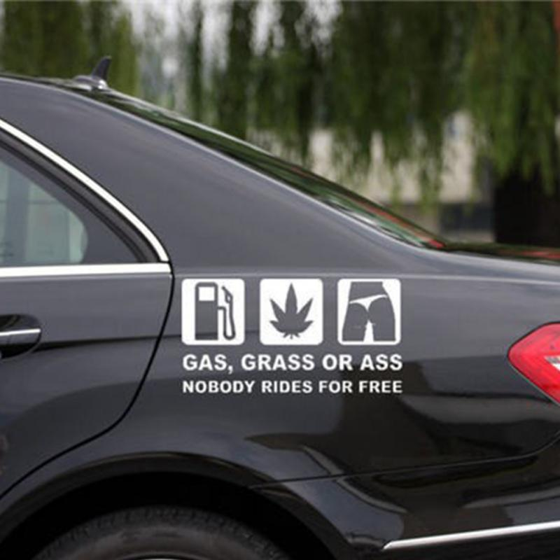 16x8cm funny car sticker reflective vinyl decal car window bumper printed withgas grass or ass words auto styling in car stickers from automobiles