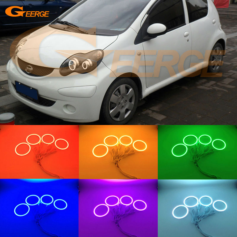 For BYD F0 F1 2008 2009 2010 2011 2012 2013 2014 2015 Excellent Ultra bright RGB Multi-Color LED Angel Eyes Halo Rings kit for lifan 620 solano 2008 2009 2010 2012 2013 2014 excellent angel eyes multi color ultra bright rgb led angel eyes kit