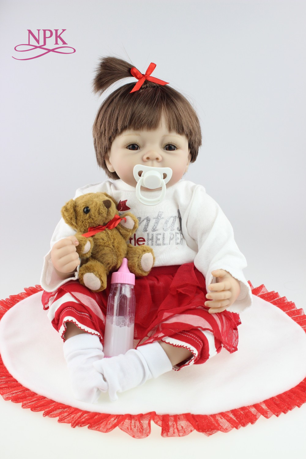 NPK Reborn Baby Doll Realistic Soft silicone Reborn Babies gifts for Girls 18 Inch Adorable Bebe Kids Brinquedos boneca Toys 50cm reborn baby doll realistic soft silicone reborn babies girl bebe kids brinquedos kids birthday gifts