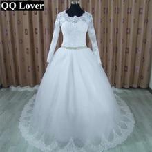 QQ Amante 2017 New Lace Elegante Train Caixilhos Vestido de Casamento Feito Sob Encomenda Vestido De Noiva Vestidos de Noiva