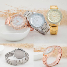 SmileOMG Hot Women's Crystal Bracelet Stainless Steel Analog Quartz Wrist Watch ,Aug 23