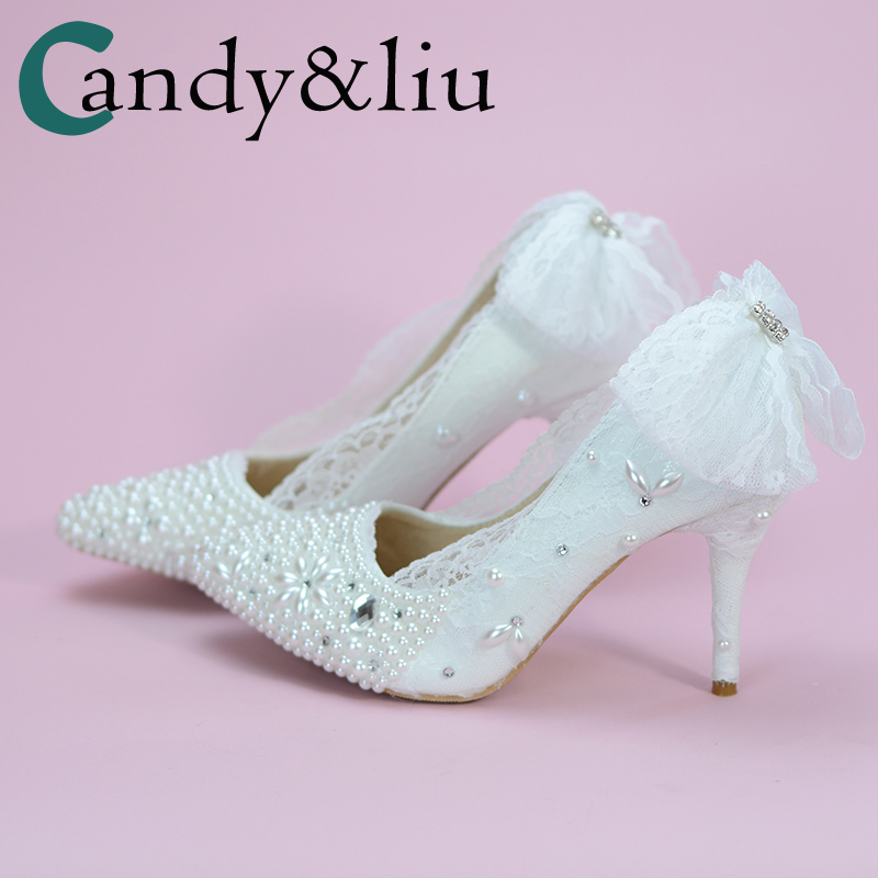 Shoes Wedding White Color Crystal Lace Bow Pearls Sweety Princess Styel Pointed  Heels Graceful and Beautiful Shoes For Bride 89fa61a5d694