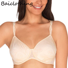 34 36 38 40 42 C D DD BAICLOTHING Women's Full Coverage Non-padded Underwire Lace Embroidery Ultra-thin Unlined Bra(China)