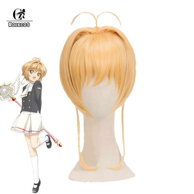 ROL ECOS Cardcaptor Sakura Clear Card Cosplay Headwear Sakura Synthetic Short Yellow Cosplay Accessories