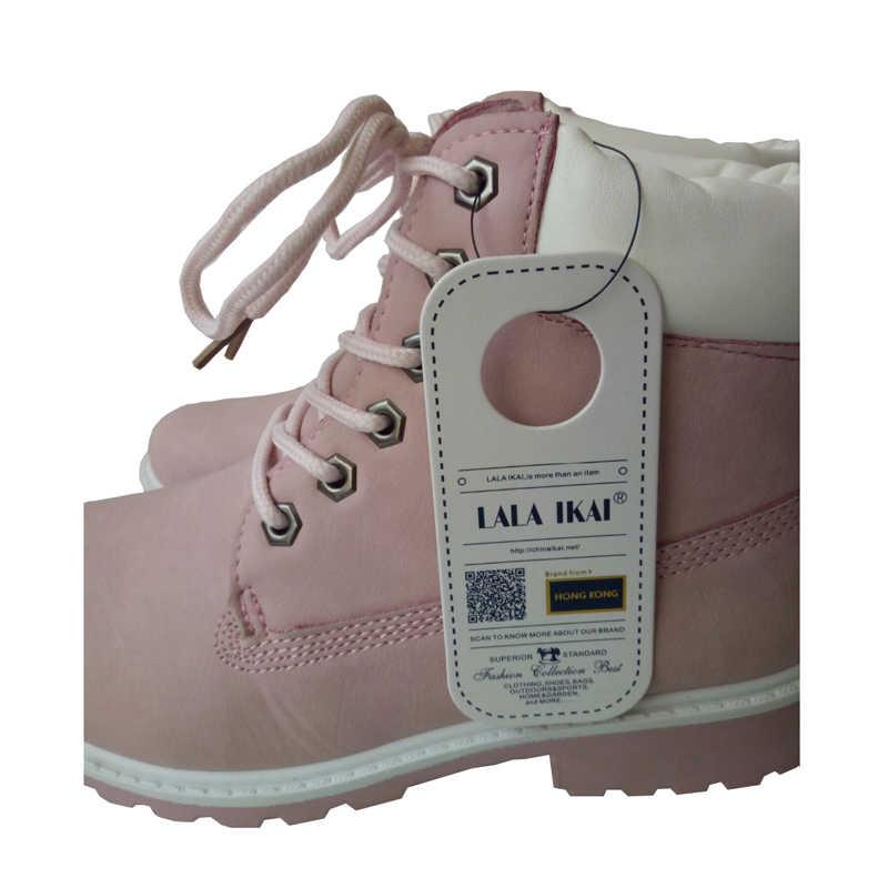 ... LALA IKAI 2018 г. розовые женские ботинки из нубука, повседневные  ботильоны на шнуровке 560354e9b6b