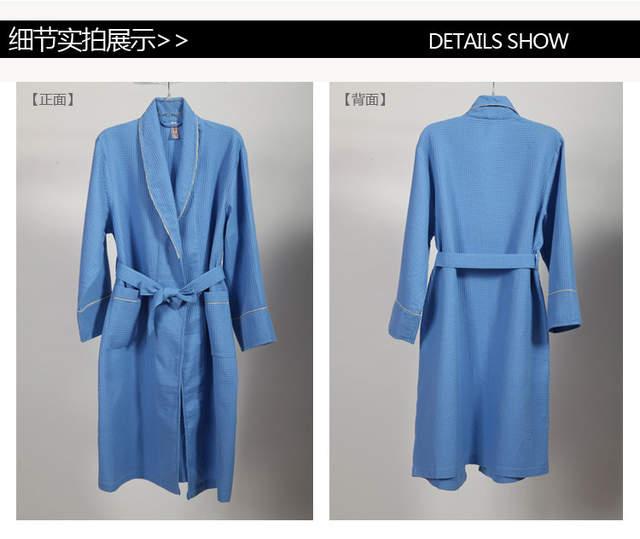 d5de789a8f Online Shop Men s spring and autumn 100% cotton waffle bath robe five star  hotel white bath kimono men s leisure nightdress free ship
