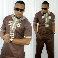 dashiki men african mens suits tops shirts pant 2 pieces set 3xl 4xl