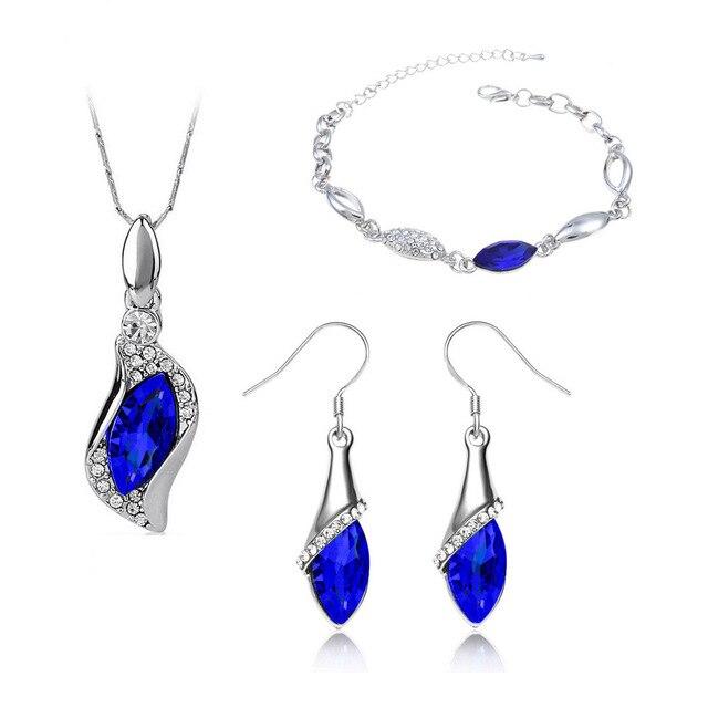 Angel Elf Earring Bracelet Necklace Jewelry Set Travel Wedding Inlaid Semi Preci