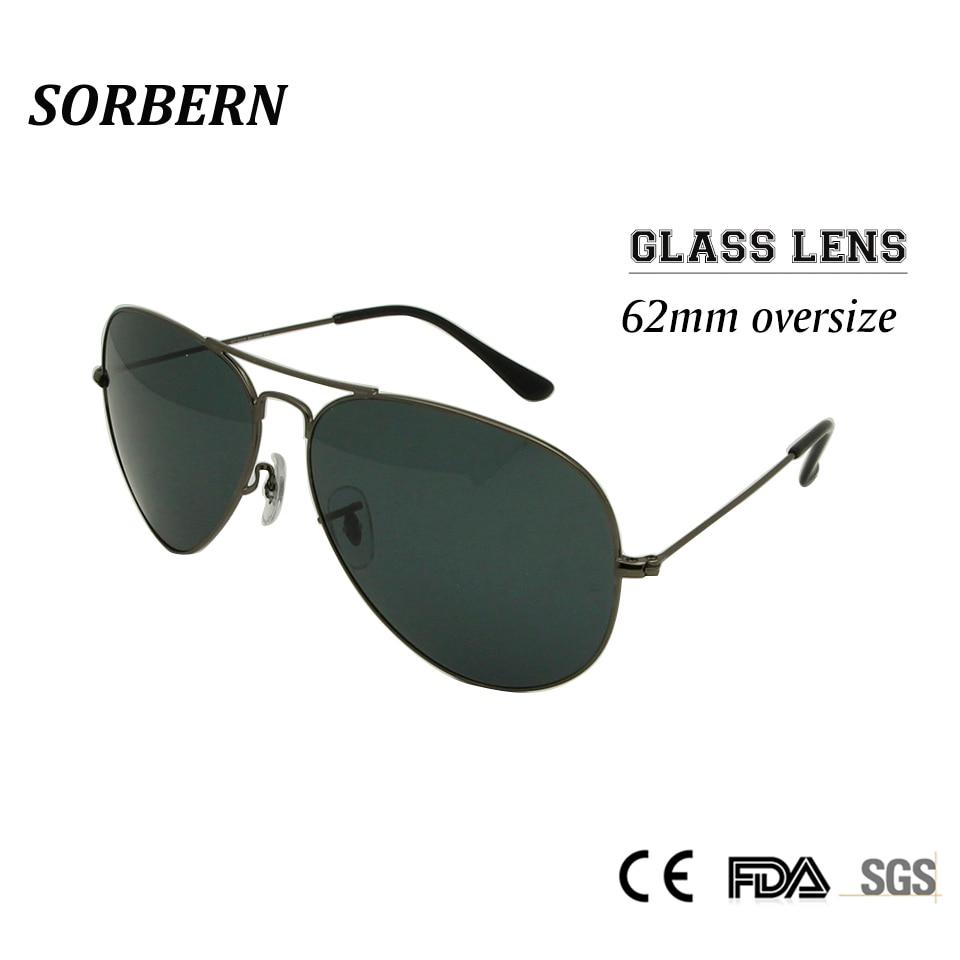 Sorbern 62MM Piloto Gafas de sol de gran tamaño Hombres Lente de vidrio Gafas de sol para hombre Google Gafas Gafas Hombres Gafas oculos masculino