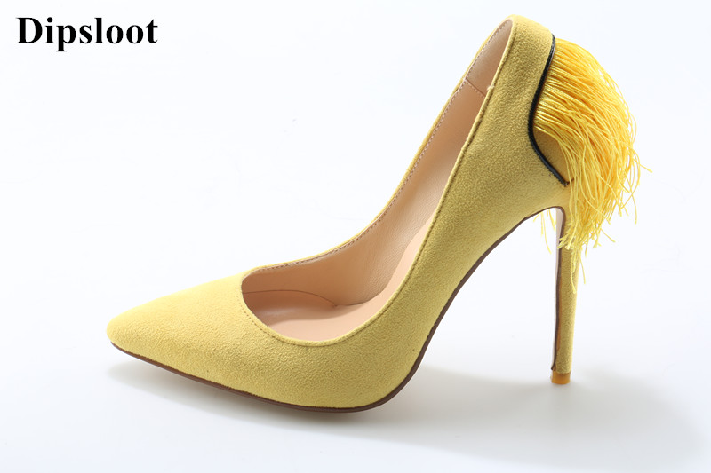 Dipsloot Fashion Tassel Embellished Stiletto High Heels Dress Wedding Shoes For Ladies Woman Pointed Toe Pumps Slip-on Shoes цена