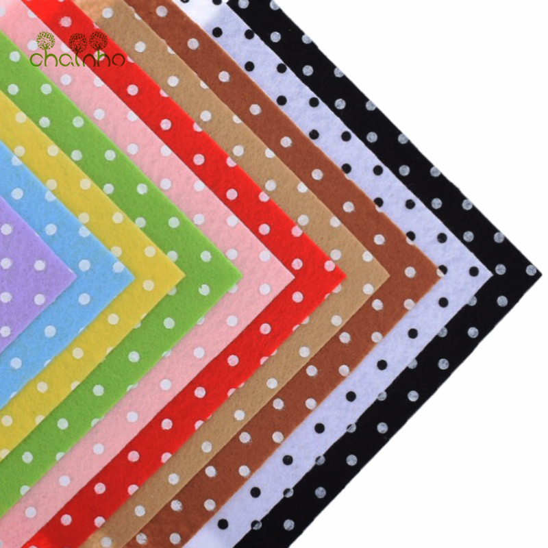 Printed Felt Non Woven Fabric 1mm Thickness Polyester Cloth For Sewing Dolls Crafts Home Decoration Pattern Bundle 10pcs15x15cm