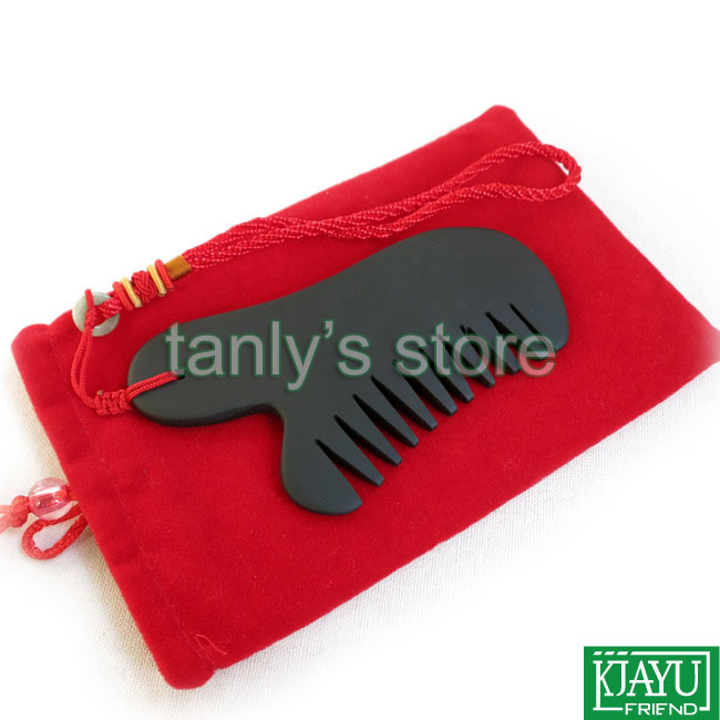 Wholesale and Retail Traditional Acupuncture Massage Tool / Guasha comb / Natural Si Bian Black Bian Stone 115x50mm 12pcs/lot
