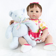 NPK Newest 52cm short Hair Silicone Reborn Baby Girl Doll and mini bear toy doll Reborn High-end Gift Toy Doll Christmas gifts new style reborn baby doll clothes fit for 16 17 inch doll cute cartoon bear reborn doll accessories child toy clothes kid gifts