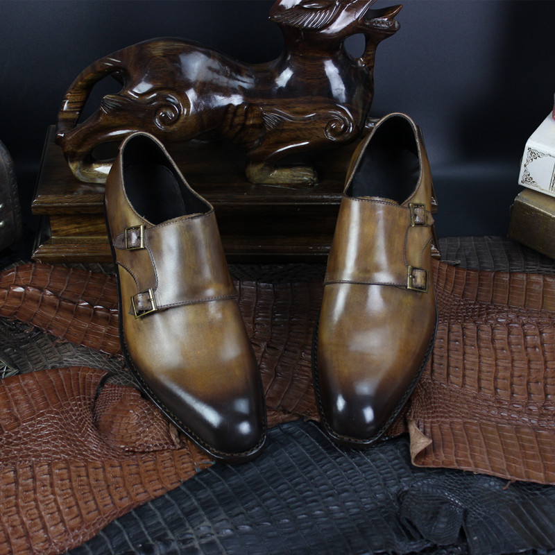 Hand Painted Color Buckle Monk Strap Shoes, Goodyear Welt Hand Made Shoes for Man Plus Size 37-47