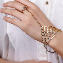 HUMANO FINO 2 Color Simple Fashion Hollow Trendy Fish Scales Triangle Bracelet With Finger Circle For Women Gold Silver Plated