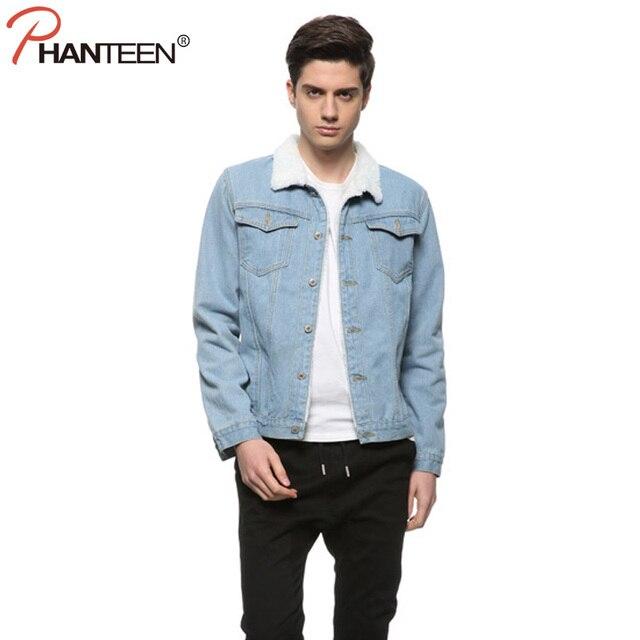 Winter Woolen Liner Man Jeans Denim Jacket Turn-down Collar Single Breasted Coat Thicken Warming Outerwear Fashion Men Clothing