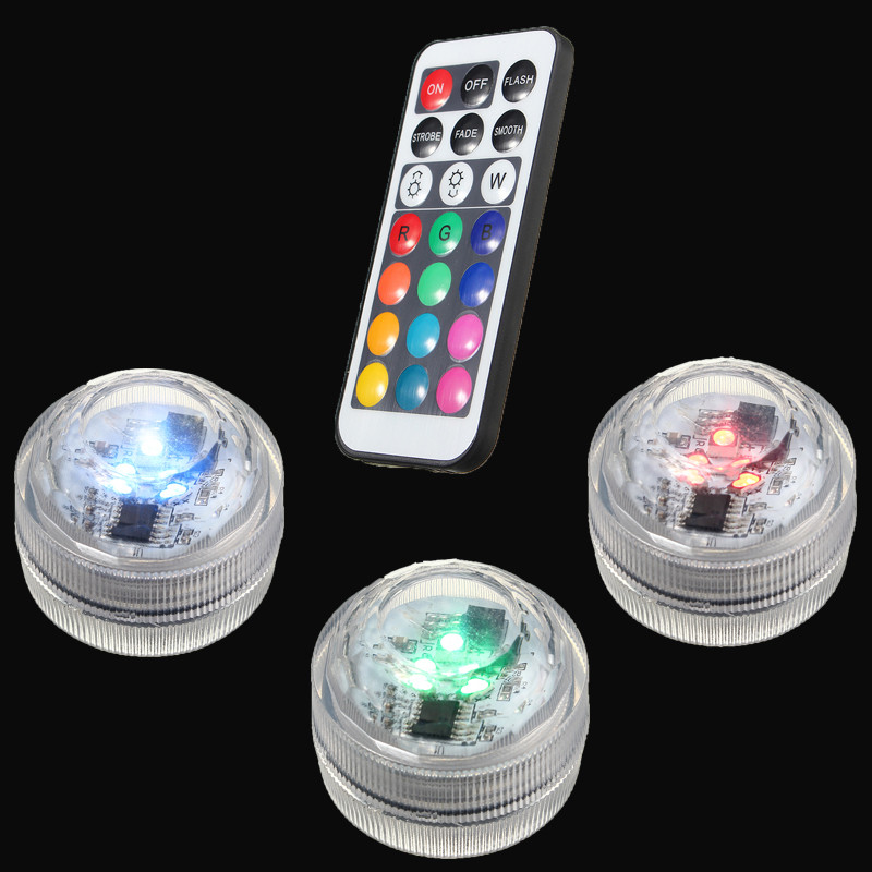 1W RGB LED Submersible Light Bulb 1.5V Colorful Candle Light Underwater Lamp With Remote Control Waterproof IP65 Decor Lighting