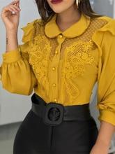2019 Summer Elegant Women Fashion Yellow Leisure Stylish Patchwork Casual Shirt Peter Pan Collar Mesh Lace Insert Blouse
