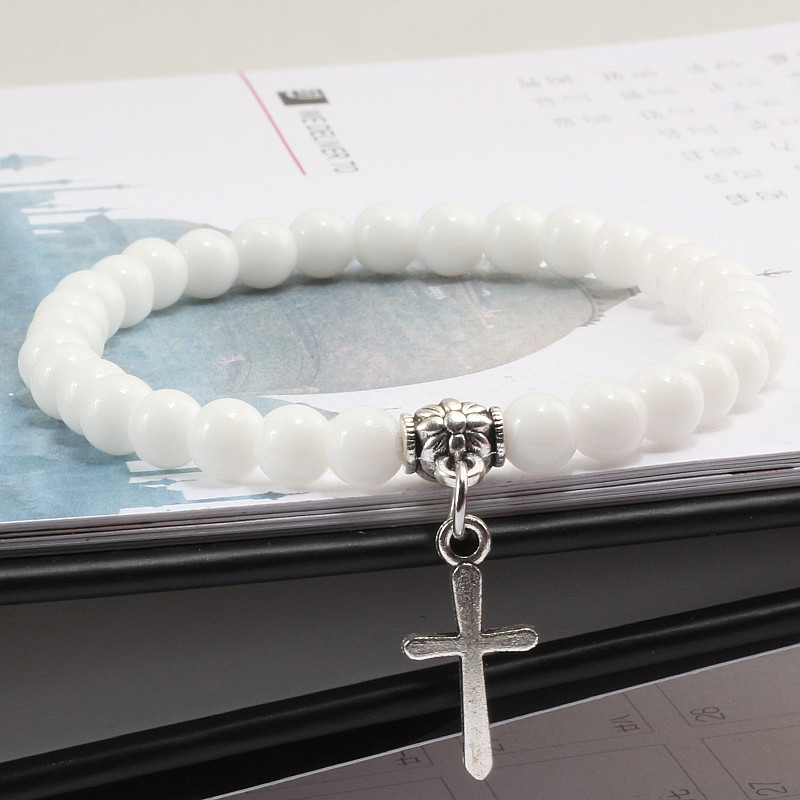 Trendy Men Natural Stone Bracelet Charm Matte Black Cross Beaded Bracelets&Bangles Women Yoga Strand Chain Couple Jewelry Gifts 1