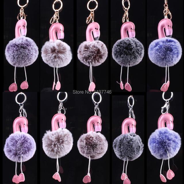 Flamingo Keychain Cute Key Chain big 8CM round Rabbit Fur Ball Pro Plush  Pendant Key Ring c5911fb5b7732