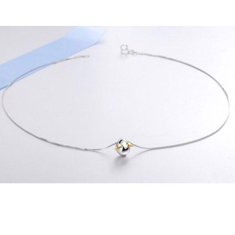 Anenjery 925 plata esterlina Ángel de huevo Collar para las mujeres collar de cadena gargantilla bijoux femme S N200|Collares|   - AliExpress
