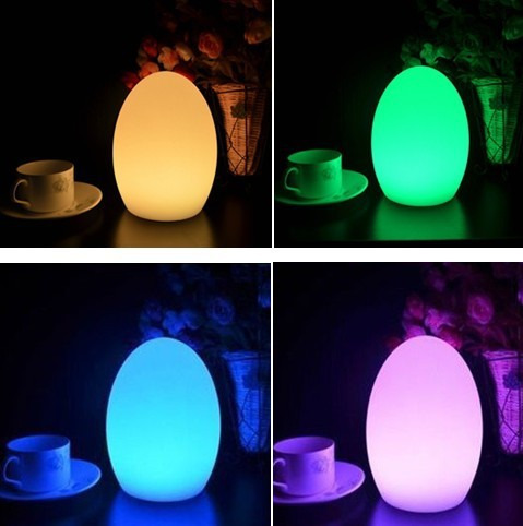 Livraison gratuite coloré LED oeuf bar lampe de table résistant à la rupture, rechargeable LED lumineux lumineux oeuf veilleuse pour noël