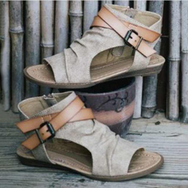 Laamei сандалии Для женщин 2018 Римский гладиатор Пряжка плоские сандалии обувь женская обувь Ремешок на щиколотке плоская подошва летние сандалии