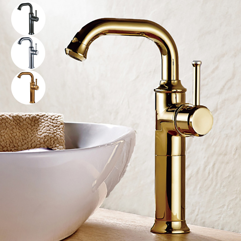 Antique Tap Brass Luxury Polished Gold Chrome Black Bronze Bathroom Basin Faucet Single Hole Mixer Deck Mounted Lavatory Vessel black bathroom faucet chrome gold bronze antique luxury single handle single hole brass hot and cold water mixer basin tap